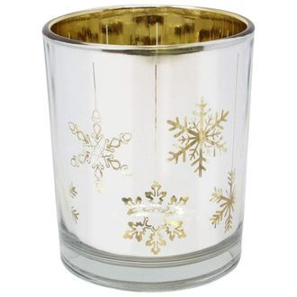 Christmas Metallic Votive Candle Holder 2.85-Inch - Silver and Gold Snowflakes (Set of 25) - Premier