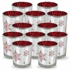 Christmas Metallic Votive Candle Holder - 3-Inch - Silver and Red Snowflakes (Set of 12) - Premier