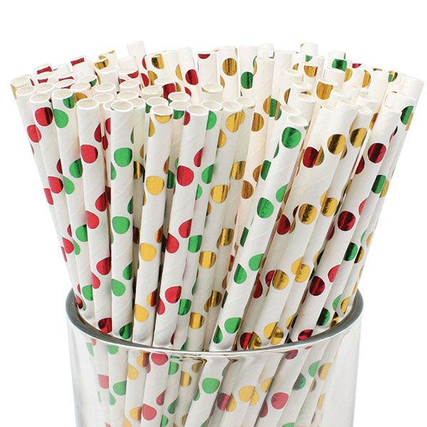 Christmas Polka Dots Pattern Paper Straws 100pcs