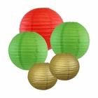 Christmas Themed Paper Lantern Kit (Assorted: (2) 8inch, (2) 12inch, (1) 16inch) - Brand (Christmas Kit) - Premier