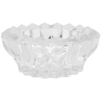 "Clear Glass Blossom Shape Tealight Candle Holder 3"" Diameter"