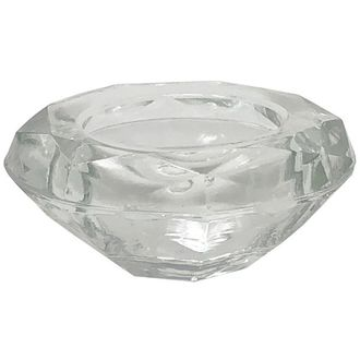 "Clear Glass Diamond Shape Tealight Candle Holder 3"" Diameter"