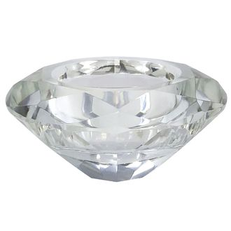 "Clear Jewel Shape Tealight Candle Holder 3"" Diameter"
