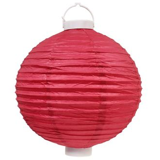 CLEARANCE 12in Fuchsia Battery Operated LED Paper Lantern