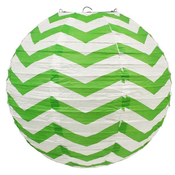 CLEARANCE 12inch Chevron Green Apple Paper Lantern