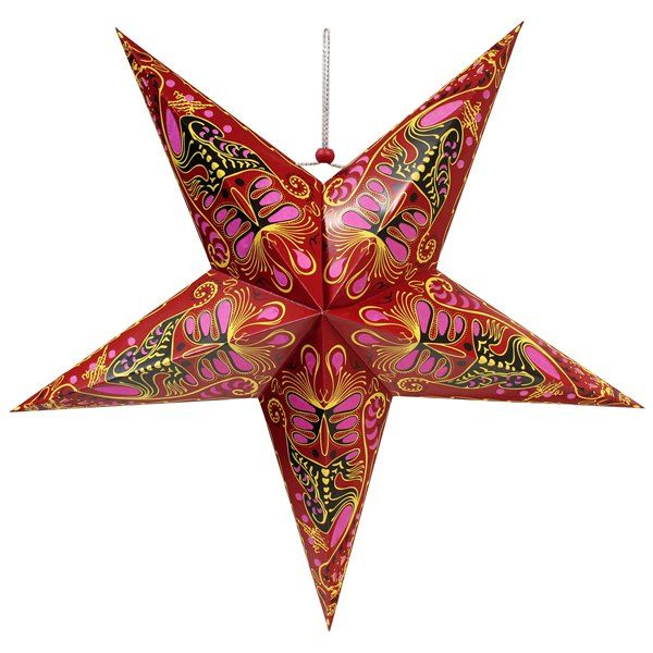 CLEARANCE 24in Red and Pink Paper Star Lantern