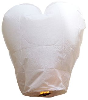 CLEARANCE Heart White Sky Lantern