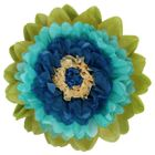 CLEARANCE Tissue Paper Flower 15in Aqua Dark Blue
