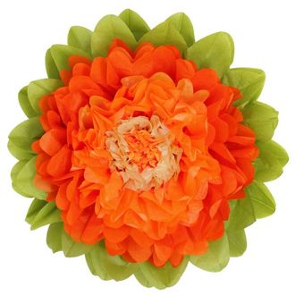 CLEARANCE Tissue Paper Flower 15in Carrot Cantaloupe