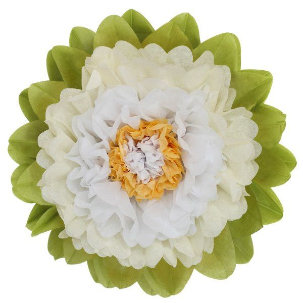 CLEARANCE Tissue Paper Flower 15in Ivory White