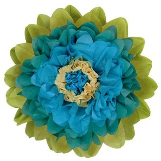 CLEARANCE Tissue Paper Flower 20in Teal Blue