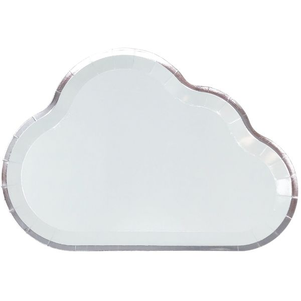 Cloud Shaped Paper Plates Pale Blue Silver Trim 10in 8pcs