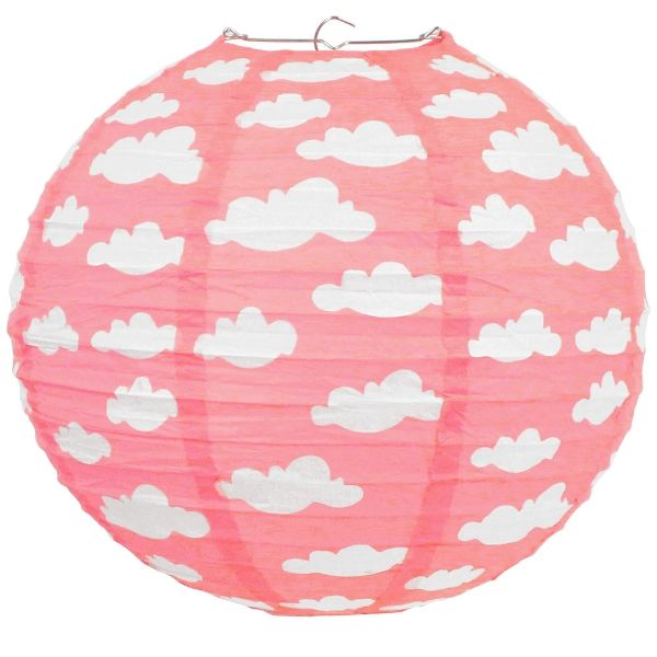 Cotton Candy Pink Puffy Clouds 12inch Paper Lantern