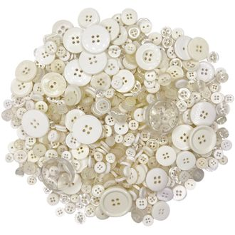 Craft Buttons Assorted Ivory 10oz