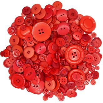 Craft Buttons Assorted Red 10oz