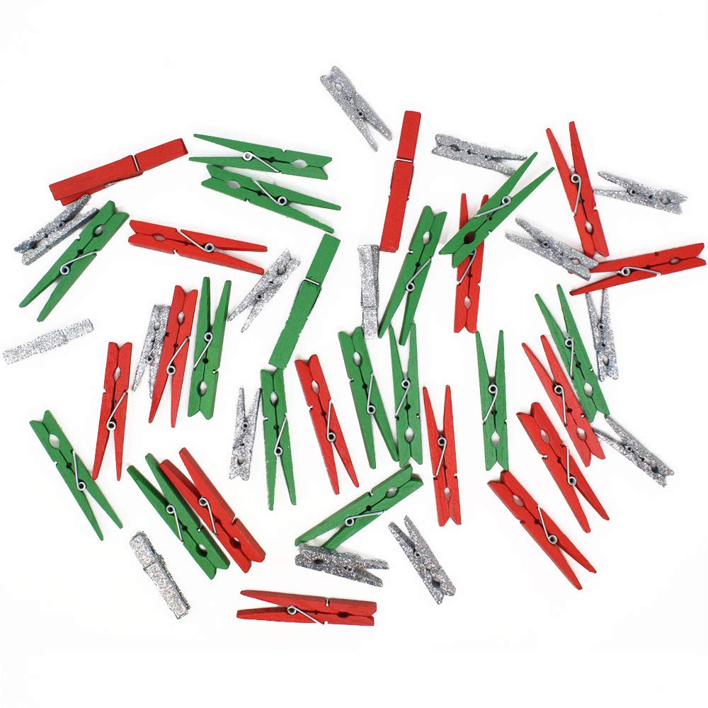 Craft Wood Clothespins/Peg Pins (148pcs, Red, Kelly Green, Silver Glitter) - Premier