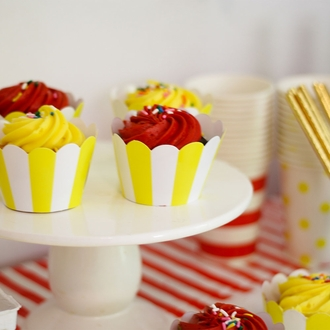 Cupcake Wrapper 20pcs Striped Lemon