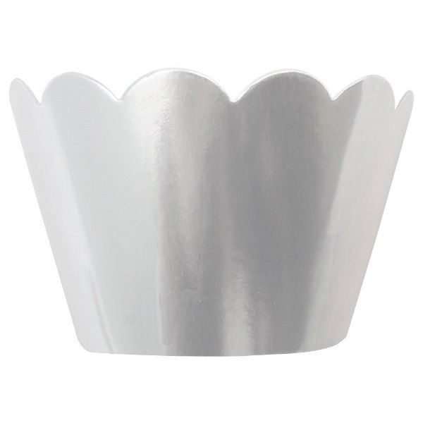 Cupcake Wrapper 8pcs Metallic Silver