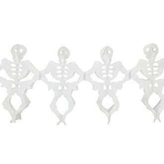 Dancing Skeletons Expandable Tissue Paper Garland Party Streamers (6 Pack, White) - Premier