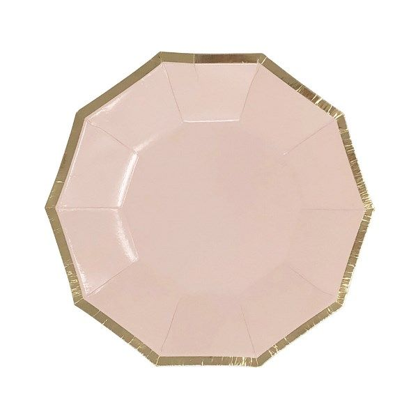 Decagon Light Pink Gold Foil Trim Dessert Paper Plates 7in 8pcs