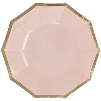 Decagon Light Pink Gold Foil  Trim Paper Plates 9in 8pcs