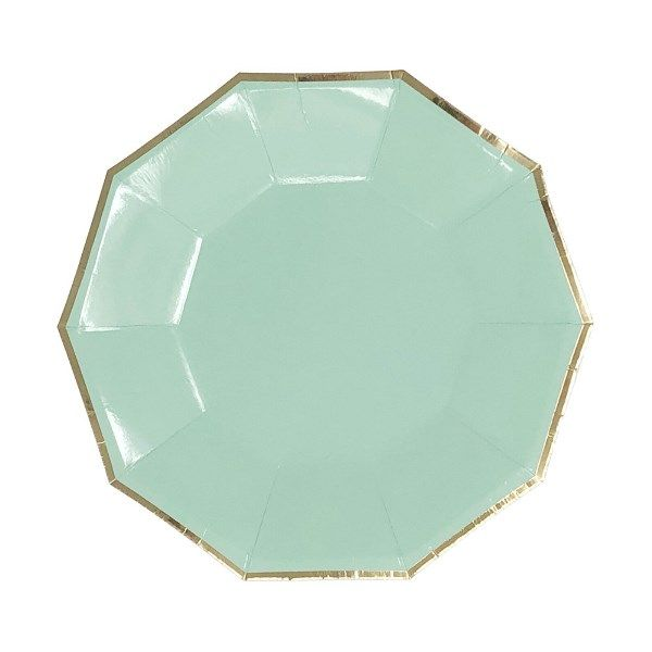 Decagon Mint Gold Foil Trim Dessert Paper Plates 7in 8pcs