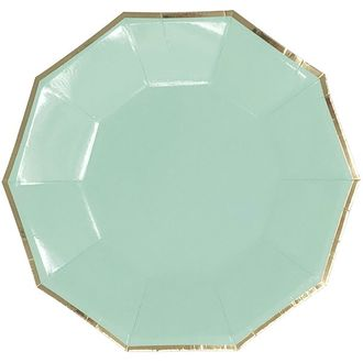 Decagon Mint Gold Foil  Trim Paper Plates 9in 8pcs