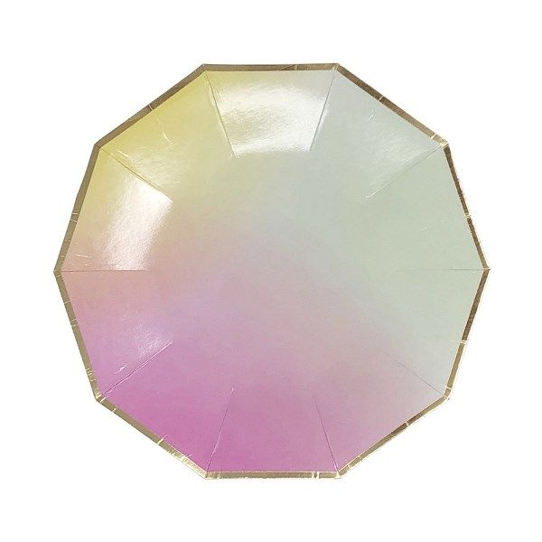 Decagon Rainbow Ombre Gold Foil Trim Dessert Paper Plates 7in 8pcs