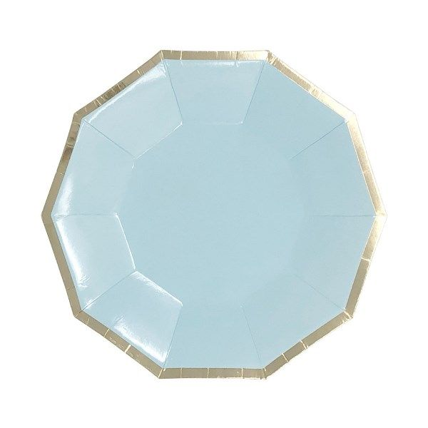 Decagon Sky Blue Gold Foil Trim Dessert Paper Plates 7in 8pcs
