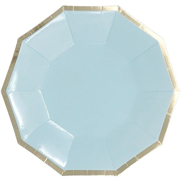 Decagon Sky Blue Gold Foil  Trim Paper Plates 9in 8pcs