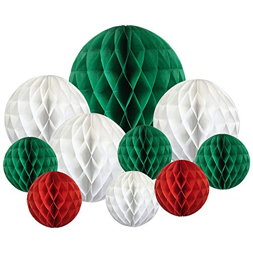 Decorative 10pcs Assorted Honeycomb Balls (Christmas) - Premier