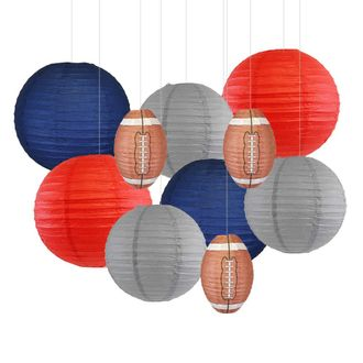 Decorative 10pcs Game Day Football Paper Lanterns (New York) - Premier