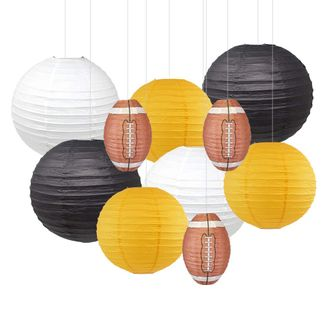 Decorative 10pcs Game Day Football Paper Lanterns (Pittsburgh) - Premier