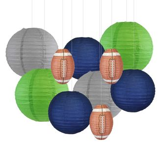 Decorative 10pcs Game Day Football Paper Lanterns (Seattle) - Premier