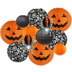 Decorative 12pcs Halloween Paper Lanterns Assorted Sizes & Colors (Color: Creepy Crawly) - Premier
