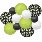Decorative 12pcs Halloween Paper Lanterns Assorted Sizes & Colors (Color: Ghostly Greetings) - Premier