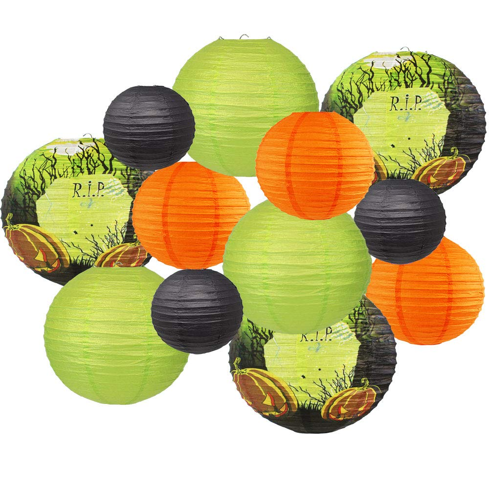Decorative 12pcs Halloween Paper Lanterns Assorted Sizes & Colors (Color: Graveyard) - Premier