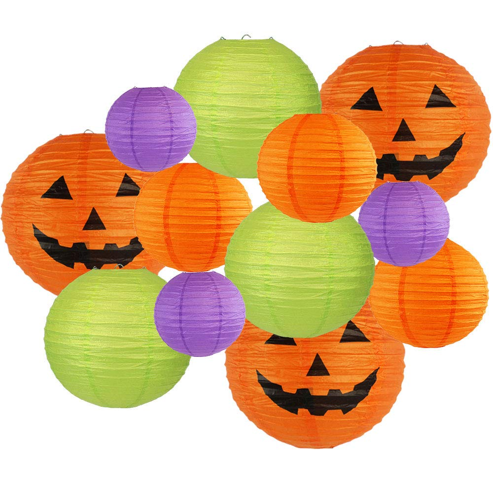 Decorative 12pcs Halloween Paper Lanterns Assorted Sizes & Colors (Color: Happy Halloween) - Premier