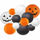 Decorative 12pcs Halloween Paper Lanterns Assorted Sizes & Colors (Color: Pumpkin Patch) - Premier