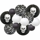 Decorative 12pcs Halloween Paper Lanterns Assorted Sizes & Colors (Color: Skulls & Bones) - Premier