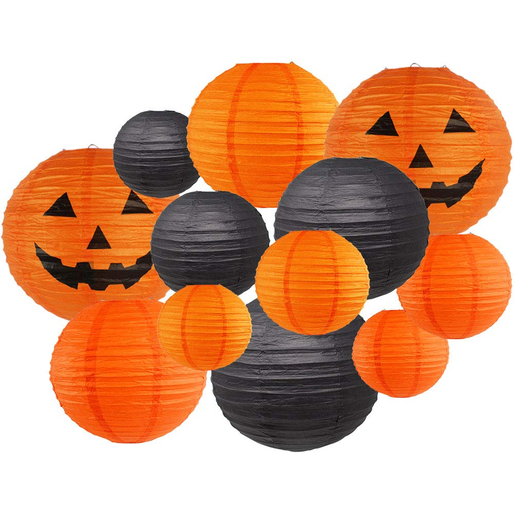 Decorative 12pcs Halloween Paper Lanterns Assorted Sizes & Colors (Color: Spooky Lanterns) - Premier