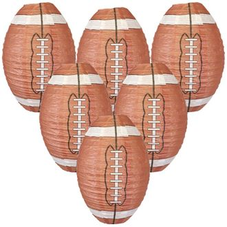 Decorative 8-Inch Football Paper Lanterns (6pcs) - Premier