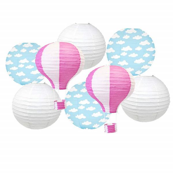 Decorative 8pcs Hot Air Balloon Paper Lanterns with Clouds (Color: Bubblegum Pink) - Premier