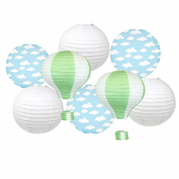 Decorative 8pcs Hot Air Balloon Paper Lanterns with Clouds (Color: Green) - Premier