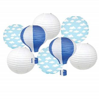 Decorative 8pcs Hot Air Balloon Paper Lanterns with Clouds (Color: Royal Blue) - Premier