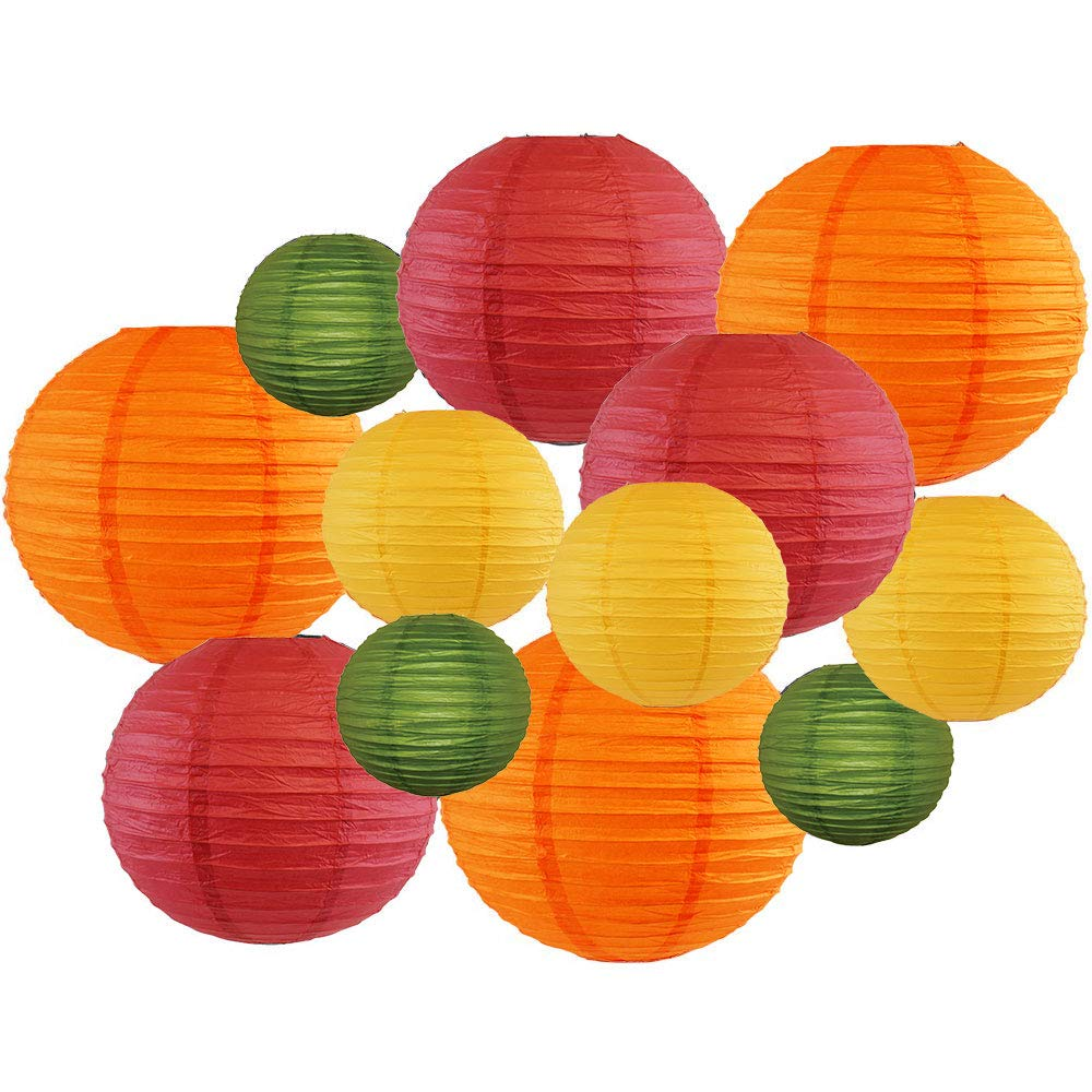 Decorative Fall Round Chinese Paper Lanterns 12pcs Assorted Sizes & Colors (Color: Fall Leaves) - Premier