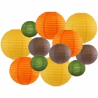 Decorative Fall Round Chinese Paper Lanterns 12pcs Assorted Sizes & Colors (Color: Gobble Gobble) - Premier