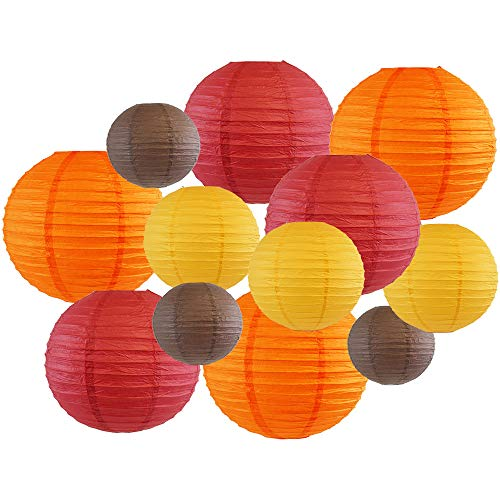 Decorative Fall Round Chinese Paper Lanterns 12pcs Assorted Sizes & Colors (Color: Happy Harvest) - Premier
