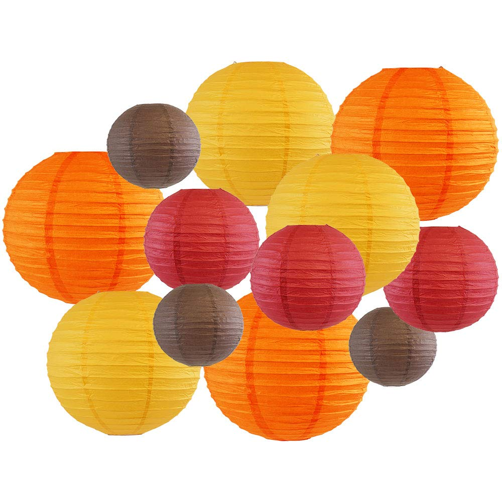 Decorative Fall Round Chinese Paper Lanterns 12pcs Assorted Sizes & Colors (Color: Pumpkin Patch) - Premier