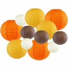 Decorative Fall Round Chinese Paper Lanterns 12pcs Assorted Sizes & Colors (Color: Pumpkin Spice) - Premier